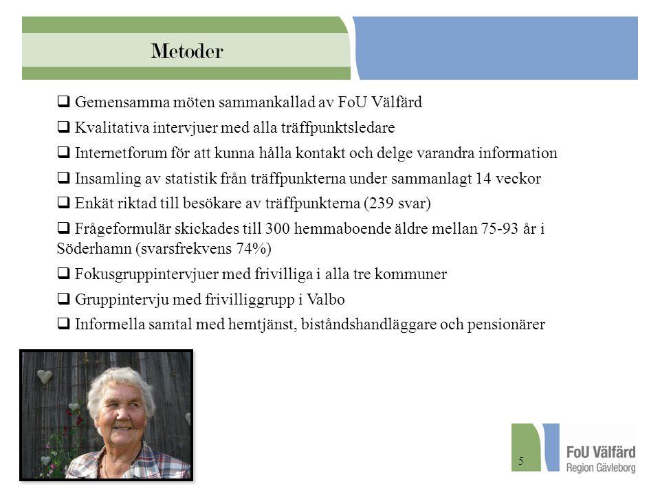 Metoder  Gemensamma möten sammankallad av FoU Välfärd  Kvalitativa intervjuer med alla träffpunktsledare  Internetforum för att kunna hålla kontakt