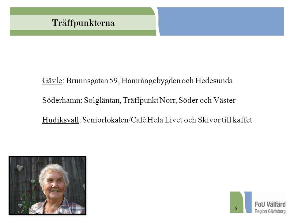 Träffpunkterna Gävle: Brunnsgatan 59, Hamrångebygden och Hedesunda Söderhamn: Solgläntan, Träffpunkt Norr, Söder och Väster Hudiksvall: Seniorlokalen/
