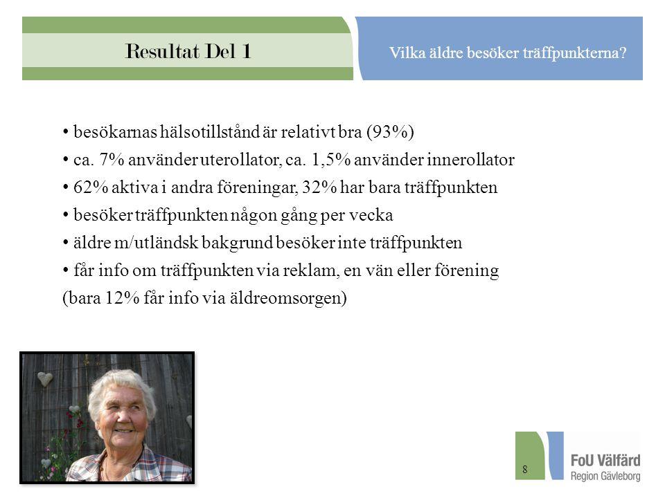 Resultat Del 1 Vilka äldre besöker träffpunkterna? besökarnas hälsotillstånd är relativt bra (93%) ca. 7% använder uterollator, ca. 1,5% använder inne