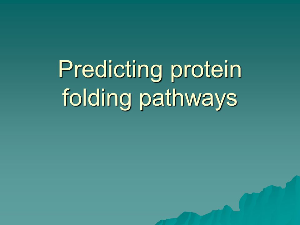 Predicting protein folding pathways
