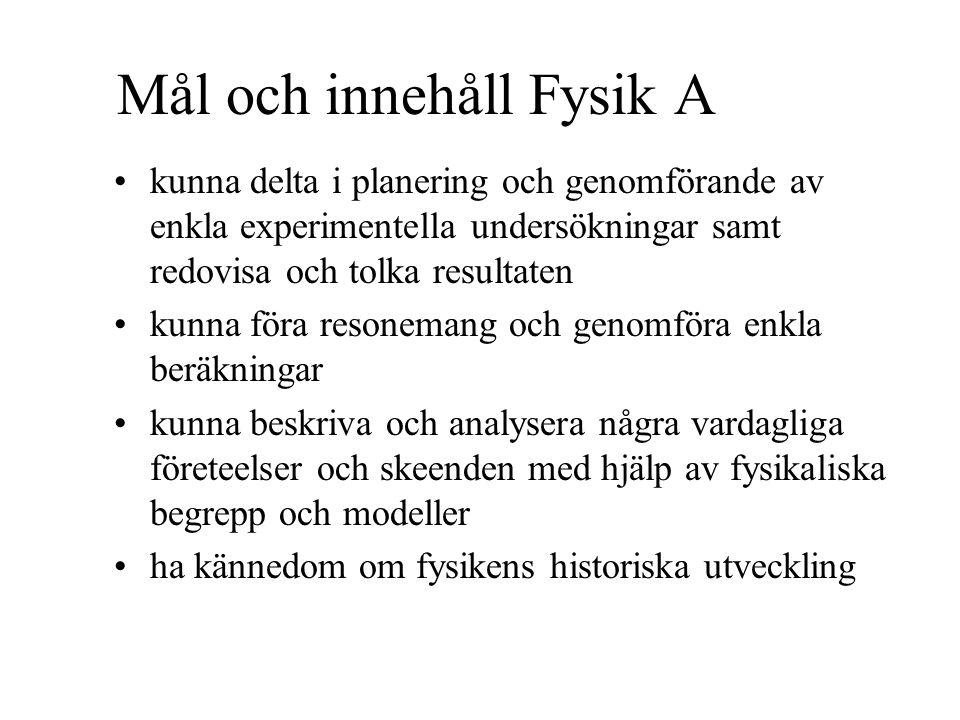 Arbetsformer Fysik A Föreläsningar Laborationer Projekt (enskilt/grupp/IT) Räkneövningar Prov Eget arbete (arbete hemma, läxor osv) m.m