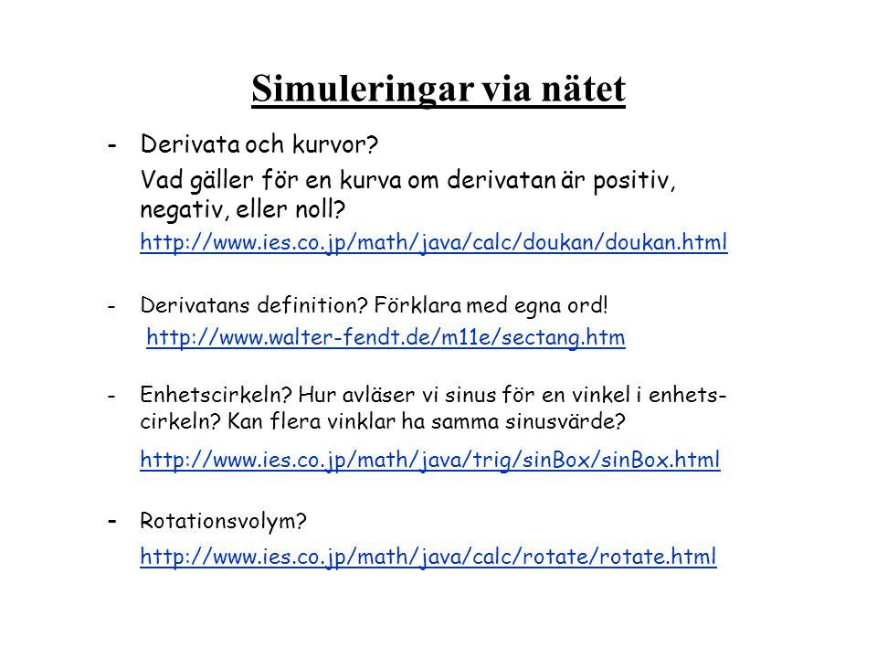 Simuleringar via nätet -Derivata och kurvor.
