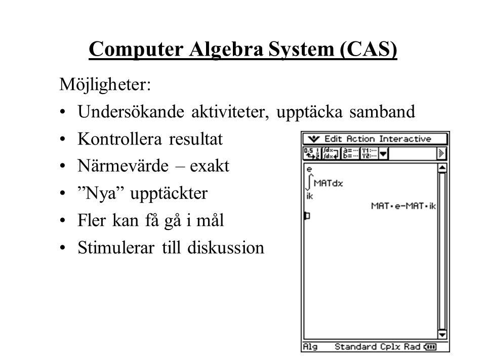 Computer Algebra System (CAS) Möjligheter: Undersökande aktiviteter, upptäcka samband Kontrollera resultat Närmevärde – exakt Nya upptäckter Fler kan få gå i mål Stimulerar till diskussion