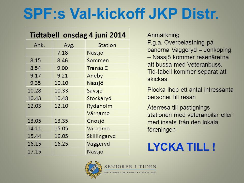 Tidtabell onsdag 4 juni 2014 Ank.Avg.Station 7.18 Nässjö 8.15 8.46 Sommen 8.54 9.00 Tranås C 9.17 9.21 Aneby 9.35 10.10 Nässjö 10.28 10.33 Sävsjö 10.4