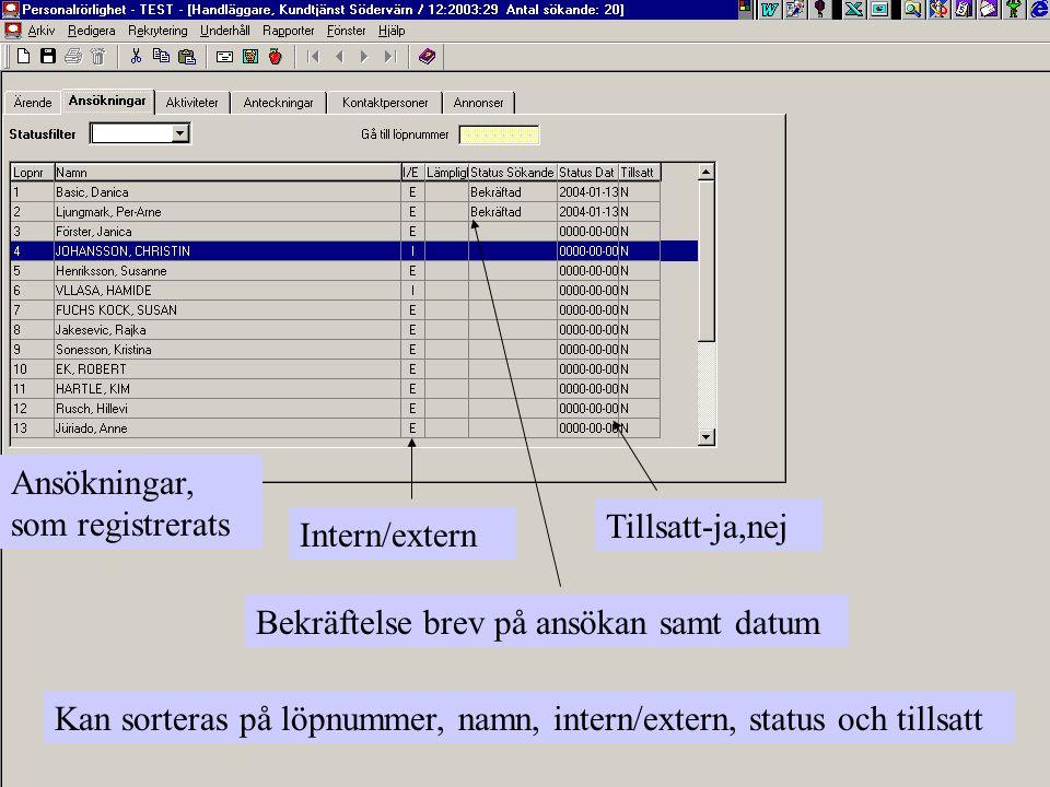 Ansökningar, som registrerats Intern/extern Bekräftelse brev på ansökan samt datum Tillsatt-ja,nej Kan sorteras på löpnummer, namn, intern/extern, sta