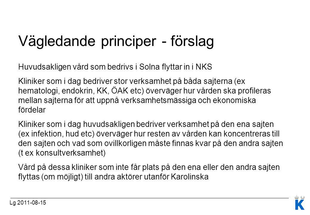Vägledande principer - förslag Huvudsakligen vård som bedrivs i Solna flyttar in i NKS Kliniker som i dag bedriver stor verksamhet på båda sajterna (e
