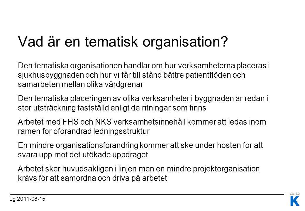 Vad är en tematisk organisation? Den tematiska organisationen handlar om hur verksamheterna placeras i sjukhusbyggnaden och hur vi får till stånd bätt
