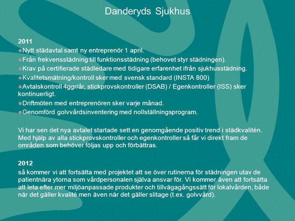2011 Nytt städavtal samt ny entreprenör 1 april. Från frekvensstädning till funktionsstädning (behovet styr städningen). Krav på certifierade städleda