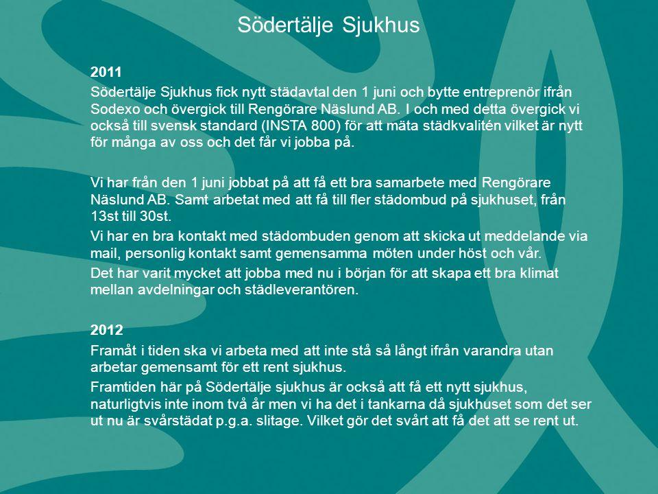 2011 Södertälje Sjukhus fick nytt städavtal den 1 juni och bytte entreprenör ifrån Sodexo och övergick till Rengörare Näslund AB. I och med detta över
