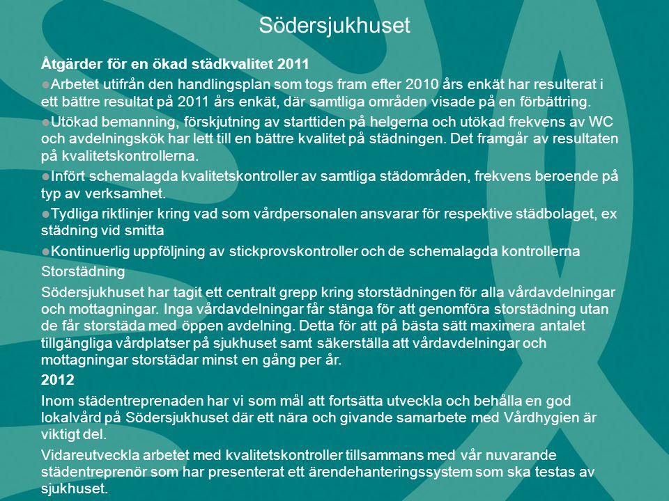 Åtgärder för en ökad städkvalitet 2011 Arbetet utifrån den handlingsplan som togs fram efter 2010 års enkät har resulterat i ett bättre resultat på 20