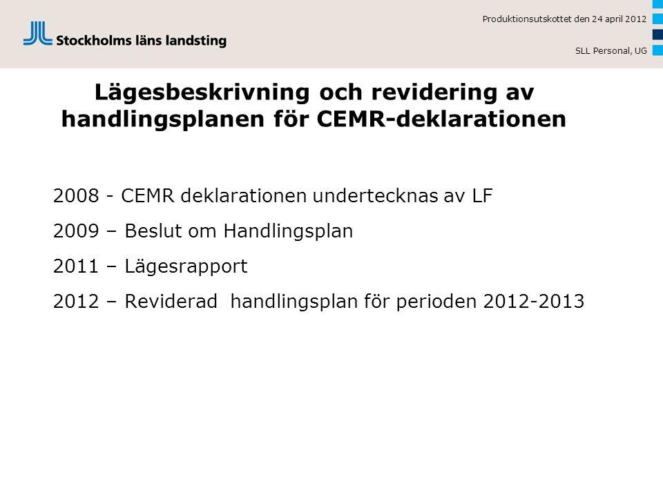 Lägesbeskrivning och revidering av handlingsplanen för CEMR-deklarationen 2008 - CEMR deklarationen undertecknas av LF 2009 – Beslut om Handlingsplan 2011 – Lägesrapport 2012 – Reviderad handlingsplan för perioden 2012-2013 Produktionsutskottet den 24 april 2012 SLL Personal, UG