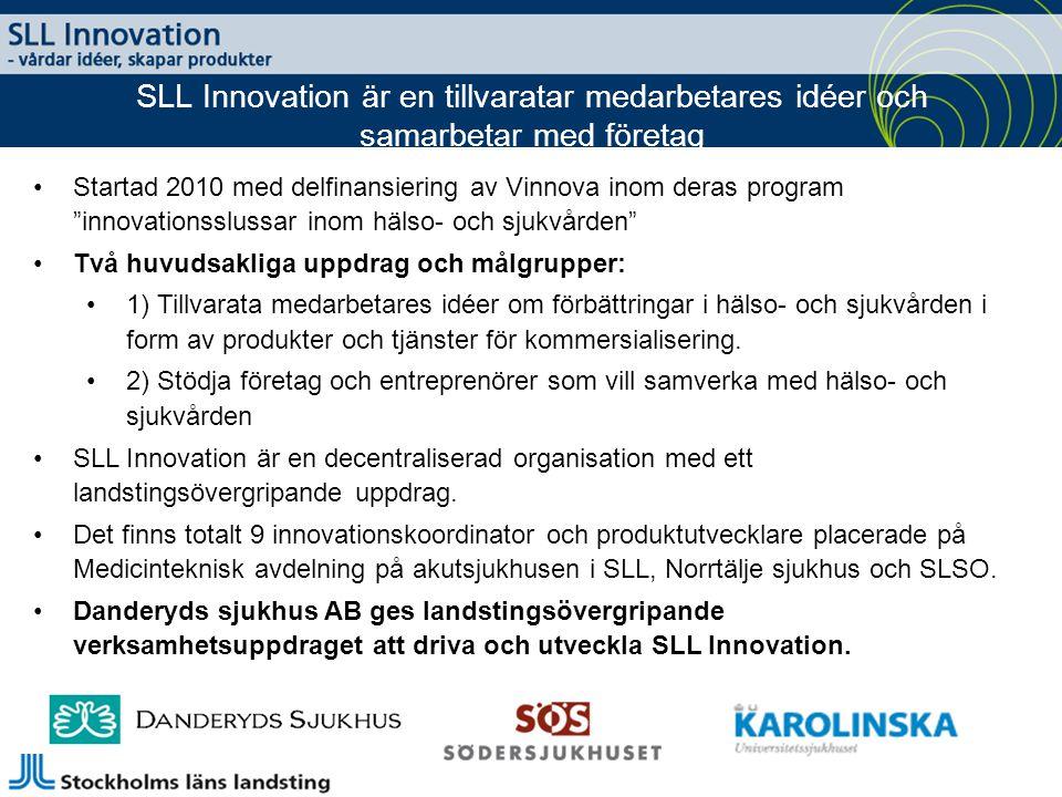 Startad 2010 med delfinansiering av Vinnova inom deras program innovationsslussar inom hälso- och sjukvården Två huvudsakliga uppdrag och målgrupper: 1) Tillvarata medarbetares idéer om förbättringar i hälso- och sjukvården i form av produkter och tjänster för kommersialisering.