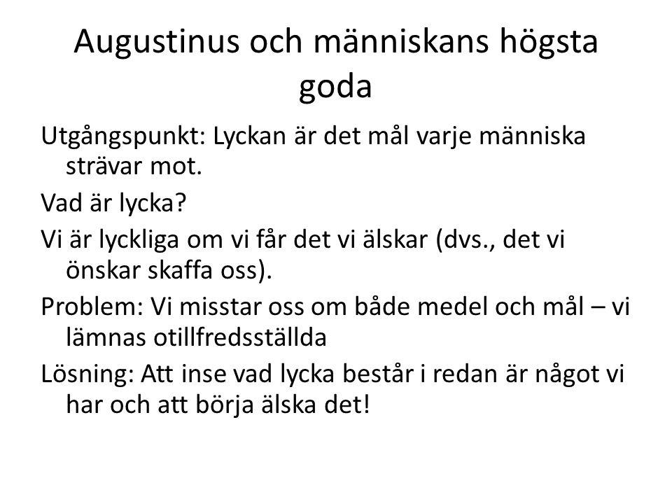 Augustinus och människans högsta goda Utgångspunkt: Lyckan är det mål varje människa strävar mot.
