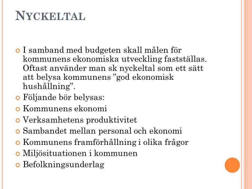 N YCKELTAL I samband med budgeten skall målen för kommunens ekonomiska utveckling fastställas.