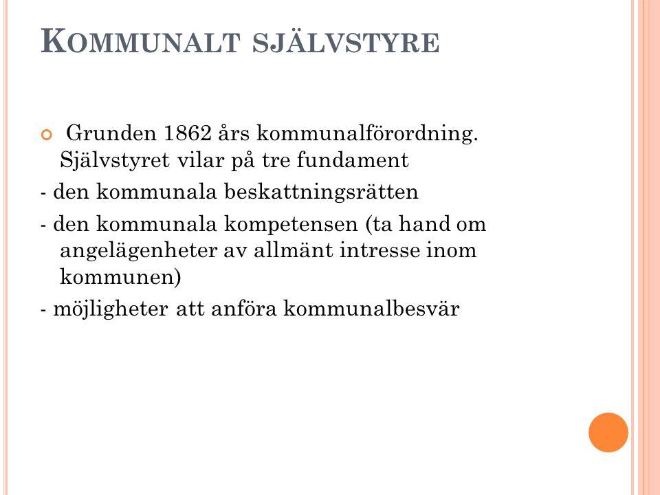 K OMMUNALT SJÄLVSTYRE Grunden 1862 års kommunalförordning.