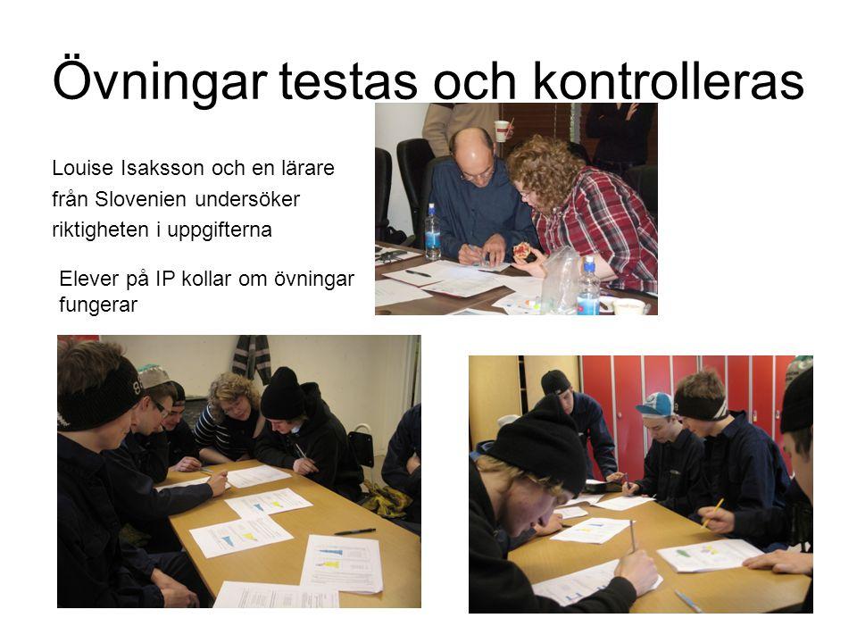Övningar testas och kontrolleras Louise Isaksson och en lärare från Slovenien undersöker riktigheten i uppgifterna Elever på IP kollar om övningar fungerar