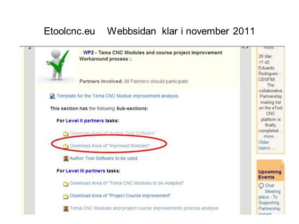 Etoolcnc.eu Webbsidan klar i november 2011