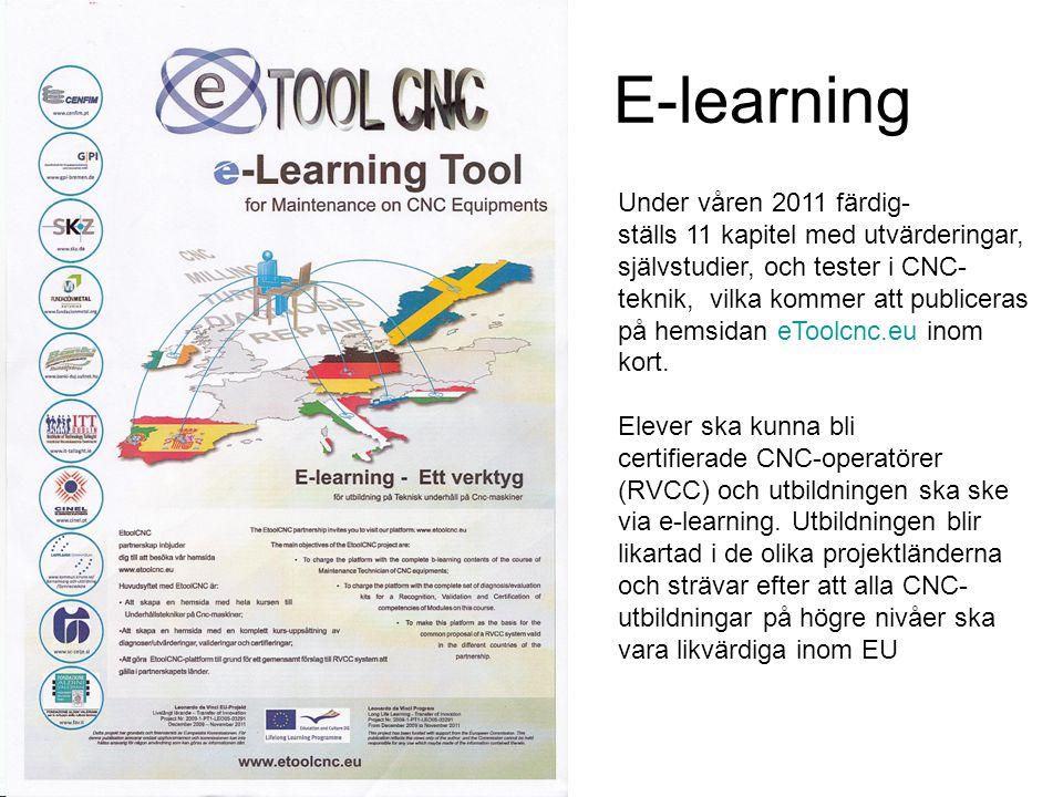 E-learning Under våren 2011 färdig- ställs 11 kapitel med utvärderingar, självstudier, och tester i CNC- teknik, vilka kommer att publiceras på hemsidan eToolcnc.eu inom kort.