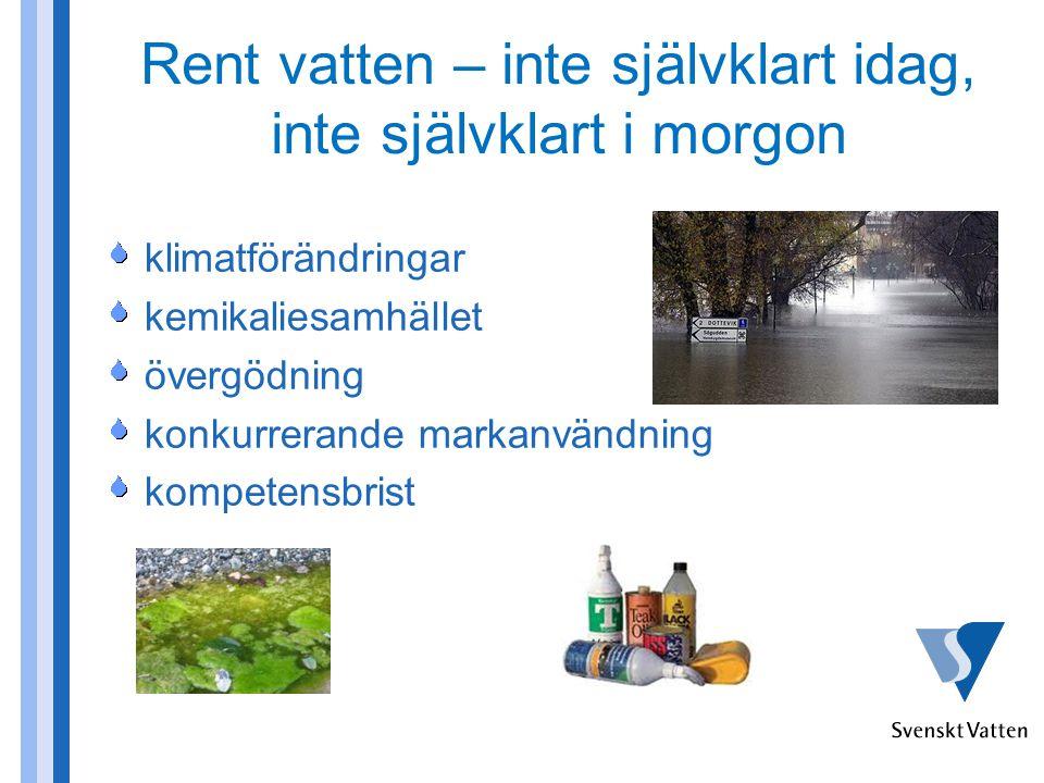 Rent vatten – inte självklart idag, inte självklart i morgon klimatförändringar kemikaliesamhället övergödning konkurrerande markanvändning kompetensbrist