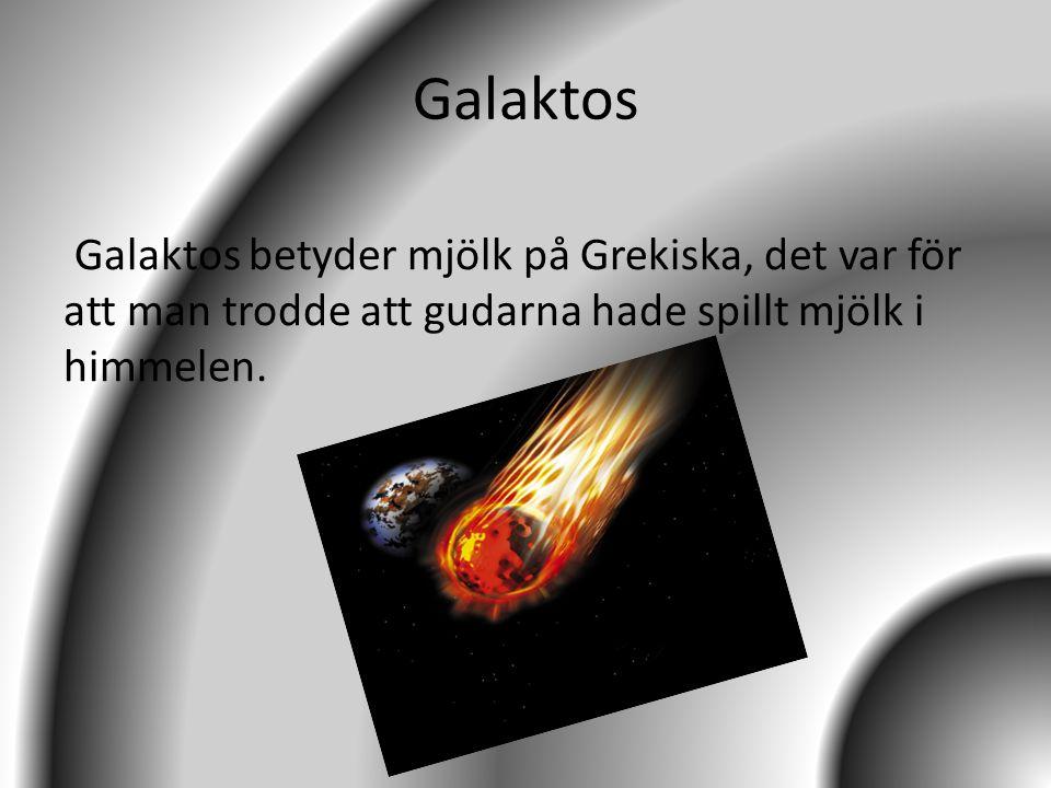 Galaktos Galaktos betyder mjölk på Grekiska, det var för att man trodde att gudarna hade spillt mjölk i himmelen.