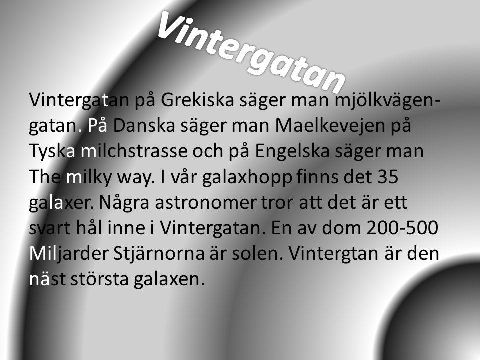 Vintergatan på Grekiska säger man mjölkvägen- gatan. På Danska säger man Maelkevejen på Tyska milchstrasse och på Engelska säger man The milky way. I