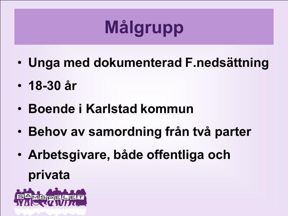 Målgrupp Unga med dokumenterad F.nedsättning 18-30 år Boende i Karlstad kommun Behov av samordning från två parter Arbetsgivare, både offentliga och p
