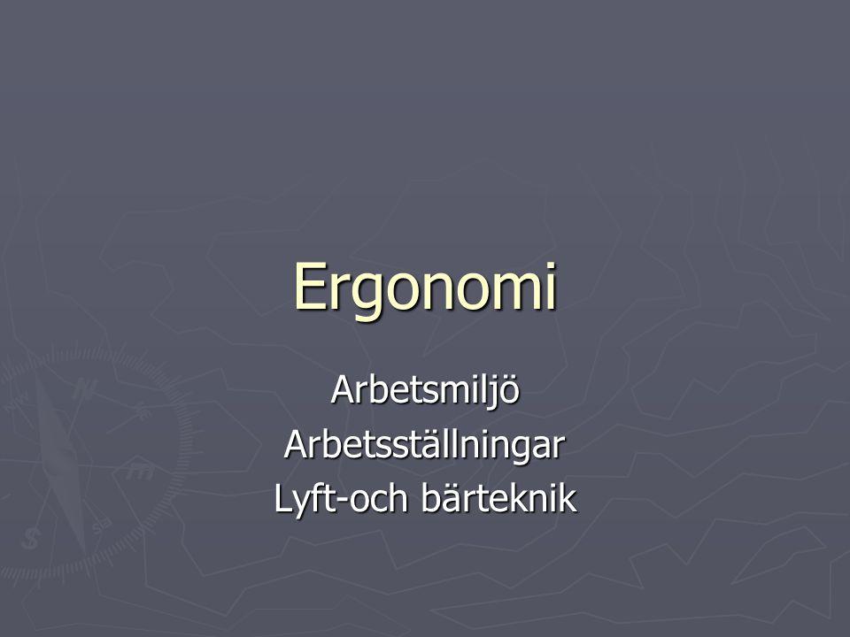 Ergonomi ArbetsmiljöArbetsställningar Lyft-och bärteknik