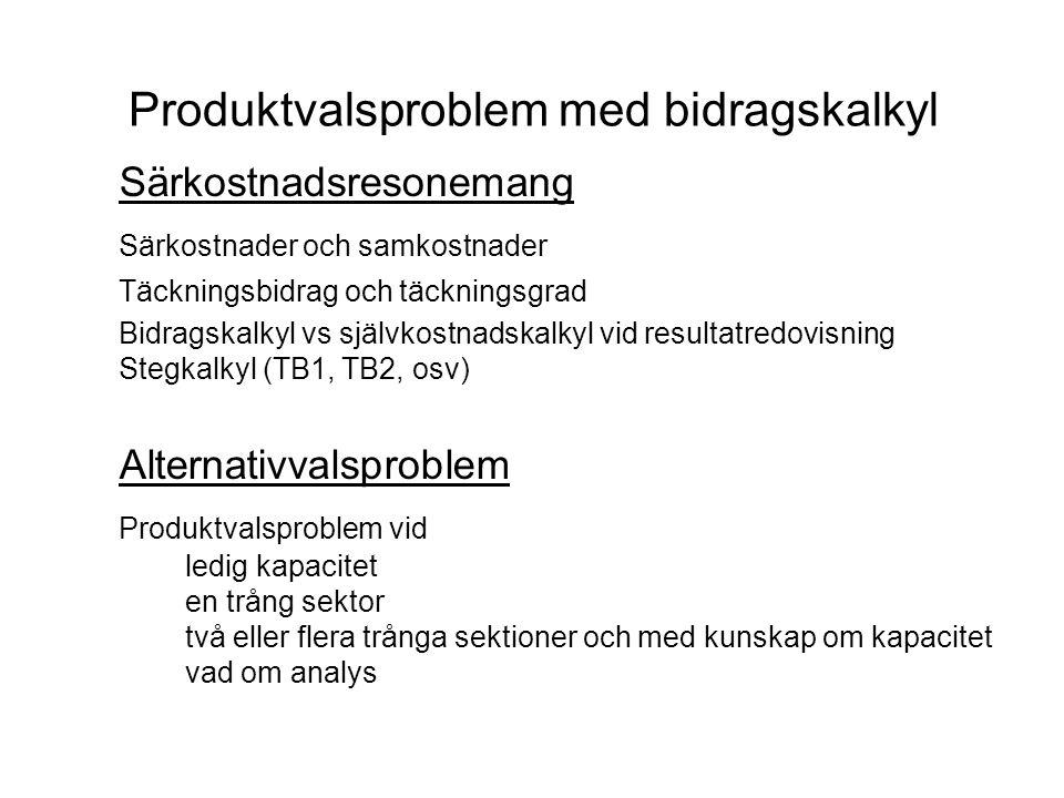 Produktvalsproblem med bidragskalkyl Särkostnadsresonemang Särkostnader och samkostnader Täckningsbidrag och täckningsgrad Bidragskalkyl vs självkostn