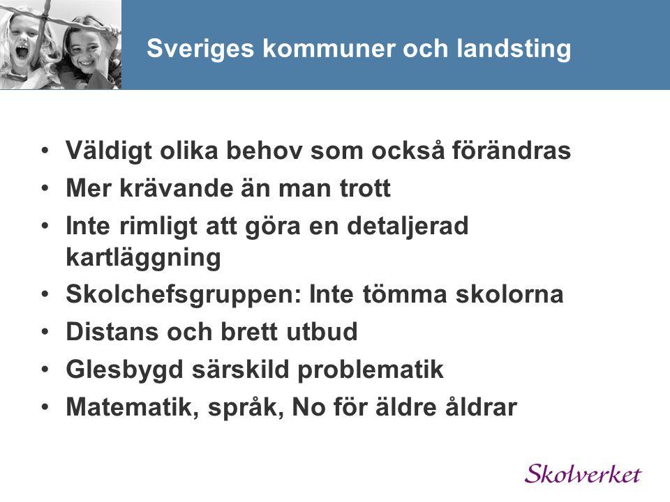 Sveriges kommuner och landsting Väldigt olika behov som också förändras Mer krävande än man trott Inte rimligt att göra en detaljerad kartläggning Sko