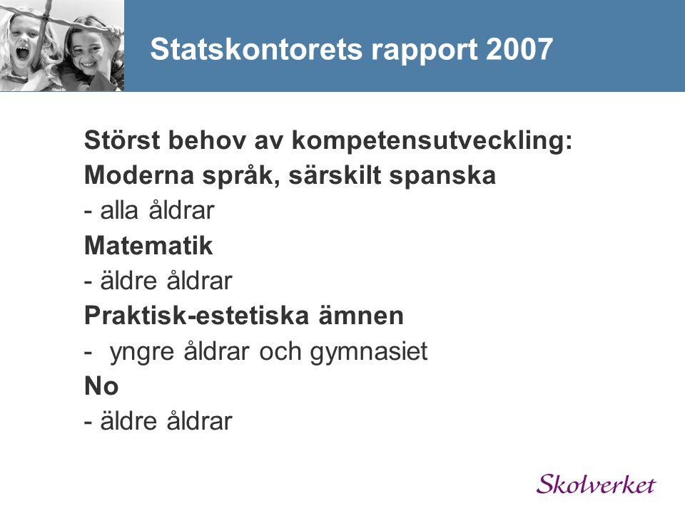 Statskontorets rapport 2007 Störst behov av kompetensutveckling: Moderna språk, särskilt spanska - alla åldrar Matematik - äldre åldrar Praktisk-estet