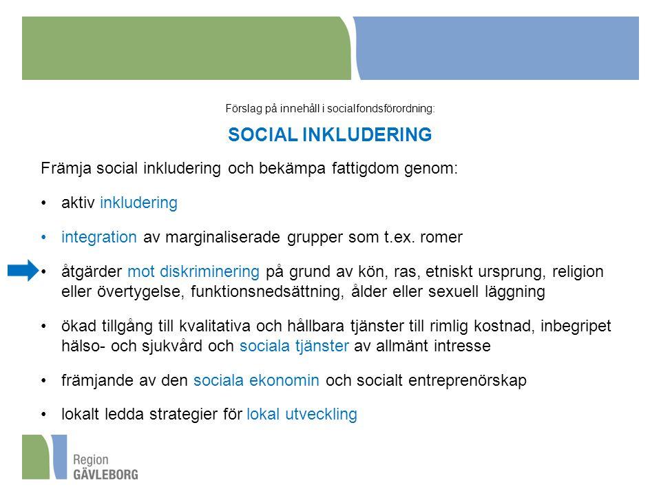 Förslag på innehåll i socialfondsförordning: SOCIAL INKLUDERING Främja social inkludering och bekämpa fattigdom genom: aktiv inkludering integration av marginaliserade grupper som t.ex.