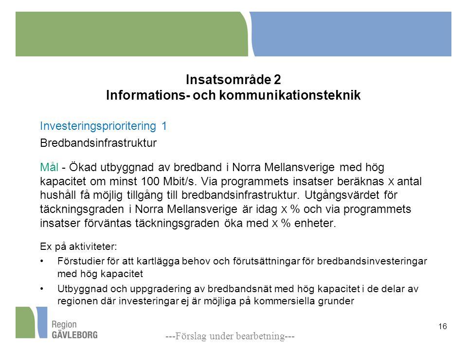 Insatsområde 2 Informations- och kommunikationsteknik Investeringsprioritering 1 Bredbandsinfrastruktur Mål - Ökad utbyggnad av bredband i Norra Mellansverige med hög kapacitet om minst 100 Mbit/s.
