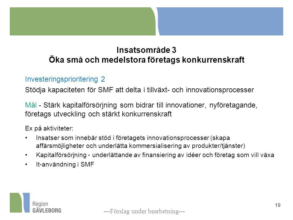 Insatsområde 3 Öka små och medelstora företags konkurrenskraft Investeringsprioritering 2 Stödja kapaciteten för SMF att delta i tillväxt- och innovationsprocesser Mål - Stärk kapitalförsörjning som bidrar till innovationer, nyföretagande, företags utveckling och stärkt konkurrenskraft Ex på aktiviteter: Insatser som innebär stöd i företagets innovationsprocesser (skapa affärsmöjligheter och underlätta kommersialisering av produkter/tjänster) Kapitalförsörjning - underlättande av finansiering av idéer och företag som vill växa It-användning i SMF 19 ---Förslag under bearbetning---
