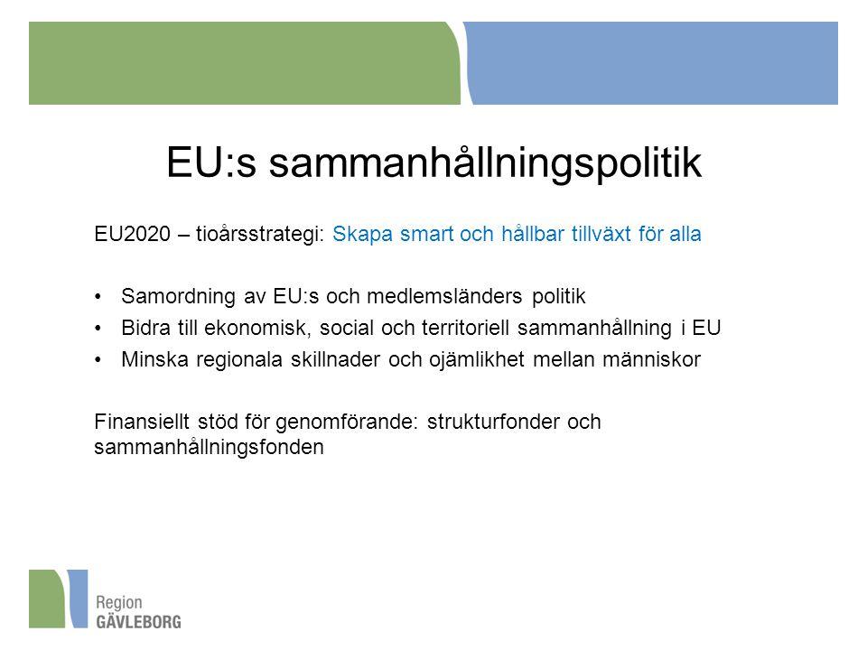 EU:s sammanhållningspolitik EU2020 – tioårsstrategi: Skapa smart och hållbar tillväxt för alla Samordning av EU:s och medlemsländers politik Bidra till ekonomisk, social och territoriell sammanhållning i EU Minska regionala skillnader och ojämlikhet mellan människor Finansiellt stöd för genomförande: strukturfonder och sammanhållningsfonden