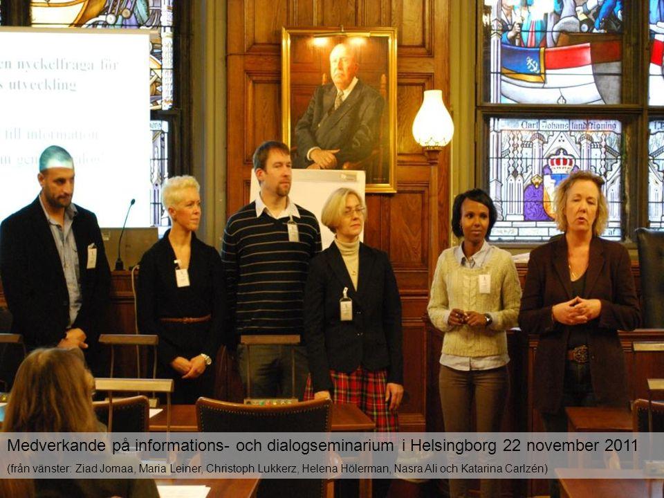Medverkande på informations- och dialogseminarium i Helsingborg 22 november 2011 (från vänster: Ziad Jomaa, Maria Leiner, Christoph Lukkerz, Helena Hö