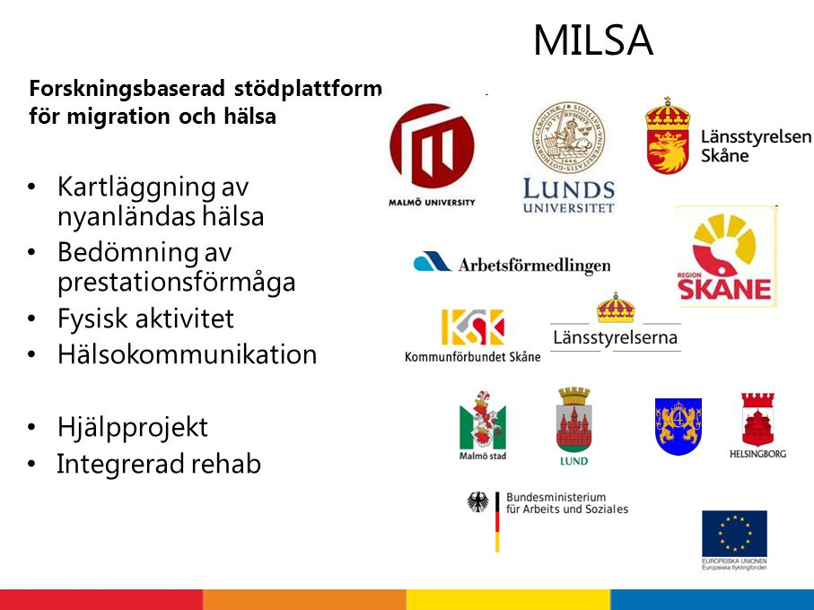Forskningsbaserad stödplattform för migration och hälsa Kartläggning av nyanländas hälsa Bedömning av prestationsförmåga Fysisk aktivitet Hälsokommuni