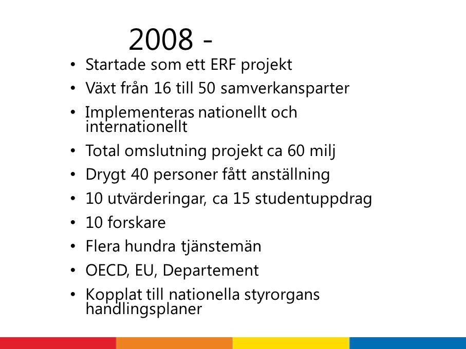 2008 - Startade som ett ERF projekt Växt från 16 till 50 samverkansparter Implementeras nationellt och internationellt Total omslutning projekt ca 60
