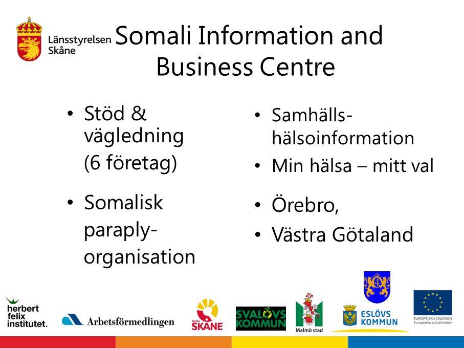 Somali Information and Business Centre Stöd & vägledning (6 företag) Samhälls- hälsoinformation Min hälsa – mitt val Somalisk paraply- organisation Ör