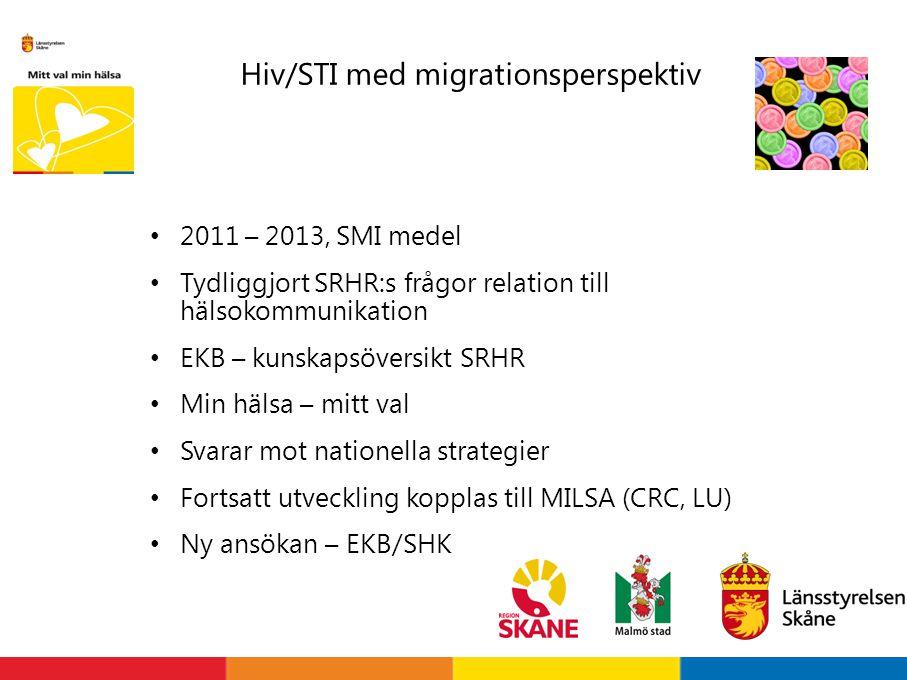 Hiv/STI med migrationsperspektiv 2011 – 2013, SMI medel Tydliggjort SRHR:s frågor relation till hälsokommunikation EKB – kunskapsöversikt SRHR Min häl