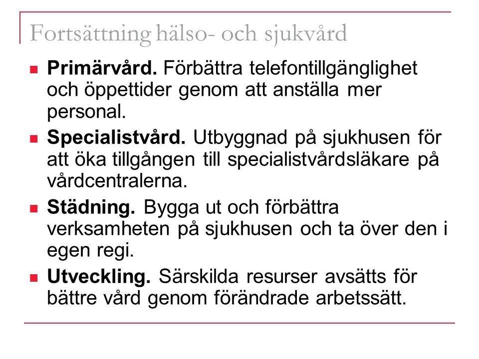 Fortsättning hälso- och sjukvård Primärvård.