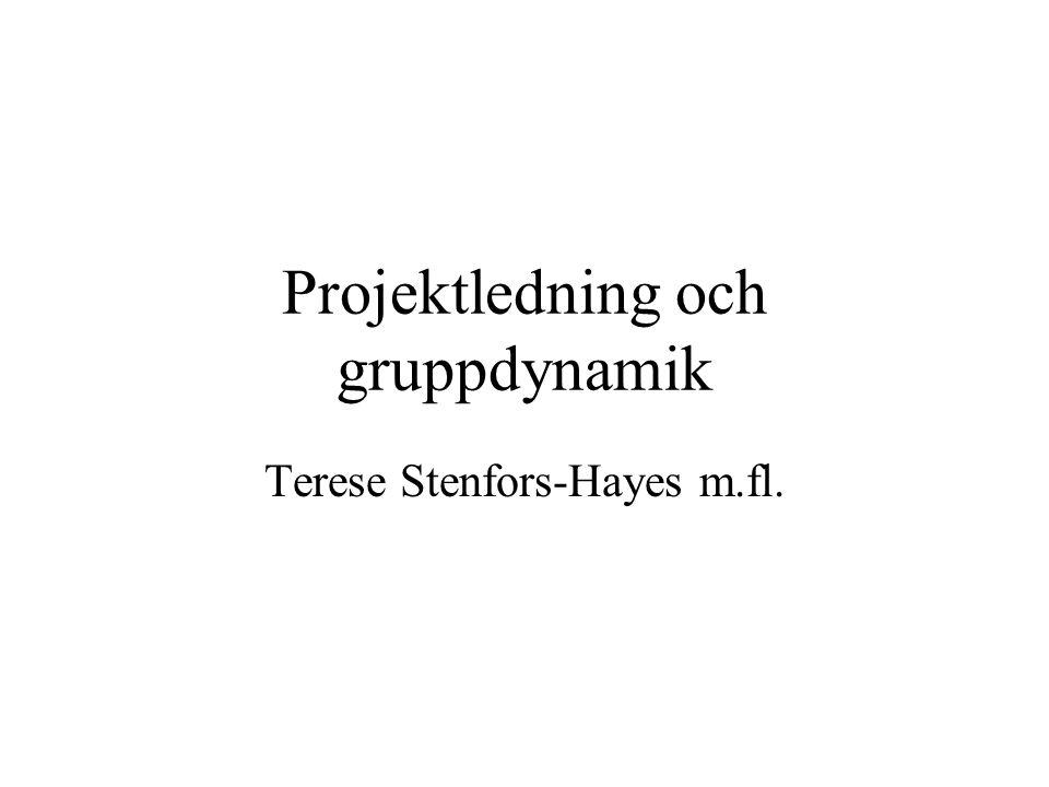 Projektledning och gruppdynamik Terese Stenfors-Hayes m.fl.