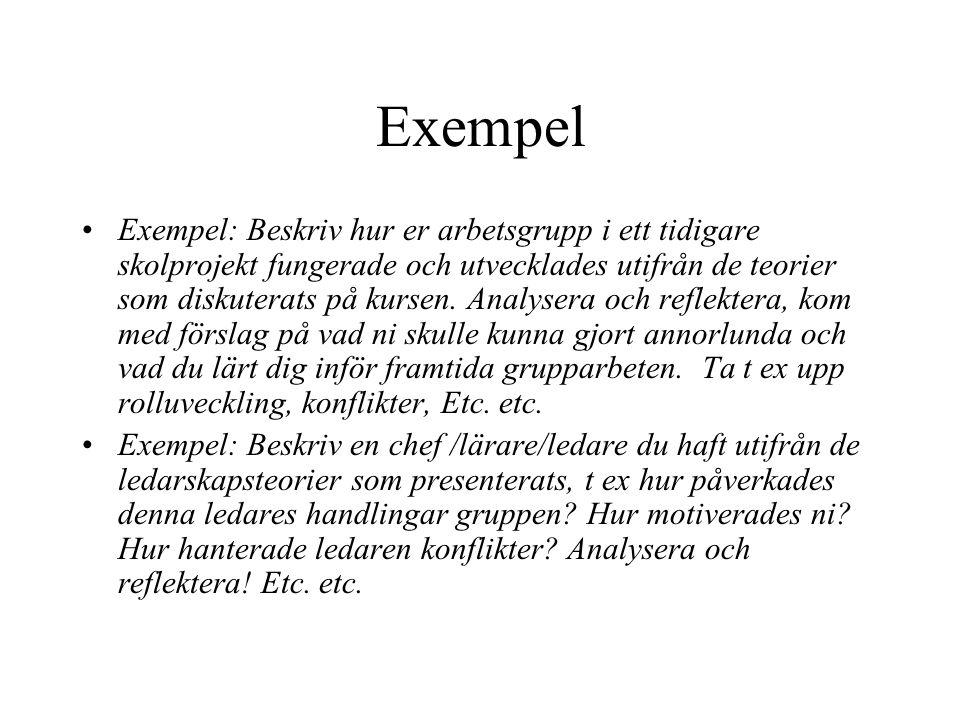 Exempel Exempel: Beskriv hur er arbetsgrupp i ett tidigare skolprojekt fungerade och utvecklades utifrån de teorier som diskuterats på kursen. Analyse
