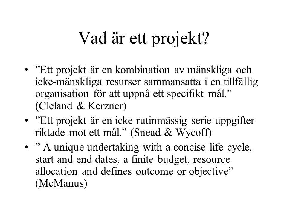 """Vad är ett projekt? """"Ett projekt är en kombination av mänskliga och icke-mänskliga resurser sammansatta i en tillfällig organisation för att uppnå ett"""