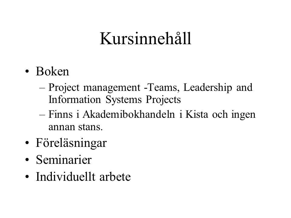 Kursinnehåll Boken –Project management -Teams, Leadership and Information Systems Projects –Finns i Akademibokhandeln i Kista och ingen annan stans. F