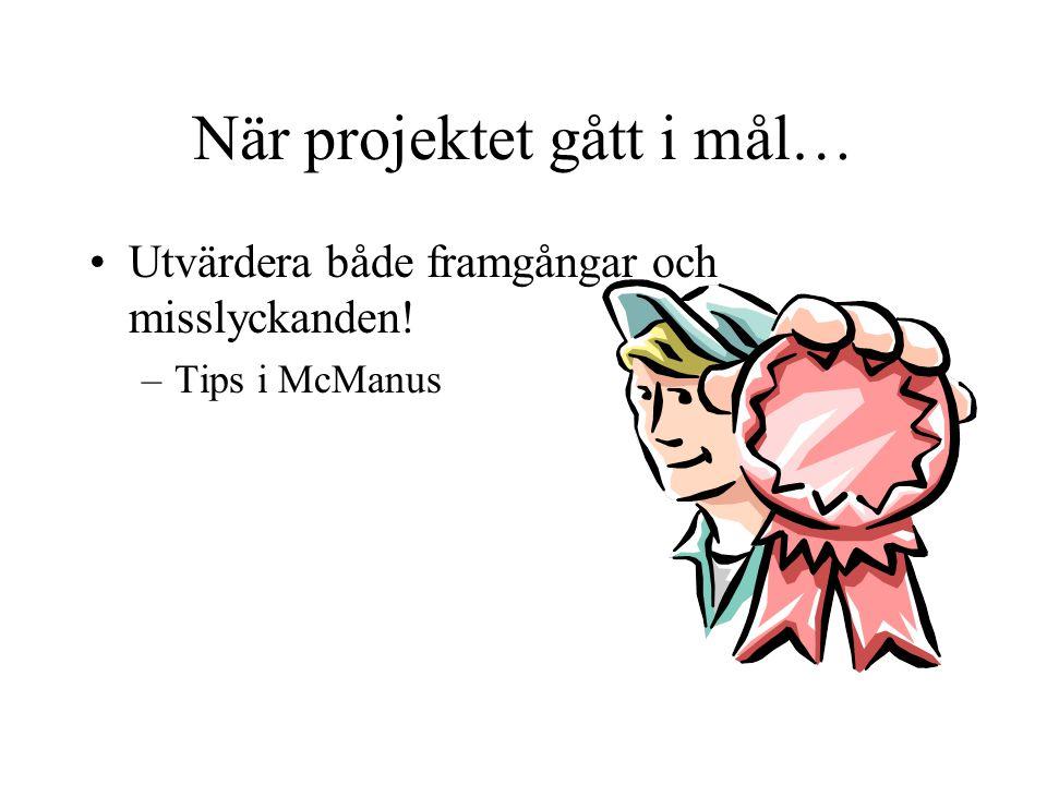 När projektet gått i mål… Utvärdera både framgångar och misslyckanden! –Tips i McManus