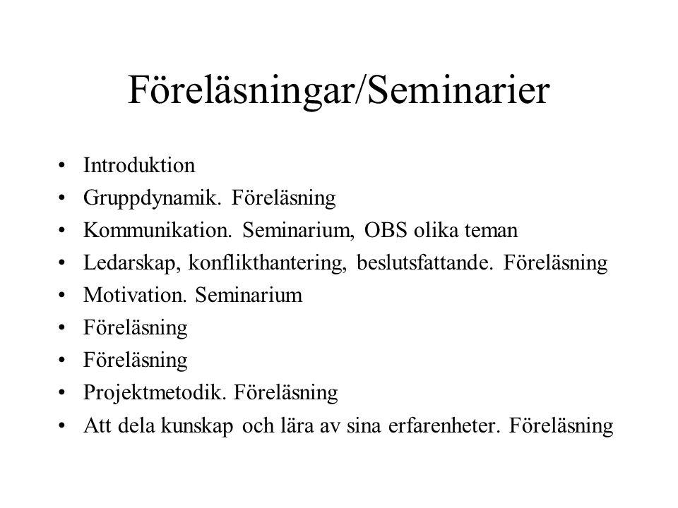 Föreläsningar/Seminarier Introduktion Gruppdynamik. Föreläsning Kommunikation. Seminarium, OBS olika teman Ledarskap, konflikthantering, beslutsfattan