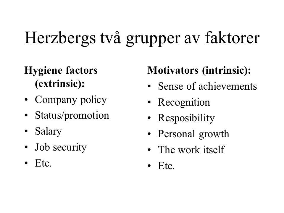 Herzbergs två grupper av faktorer Hygiene factors (extrinsic): Company policy Status/promotion Salary Job security Etc. Motivators (intrinsic): Sense