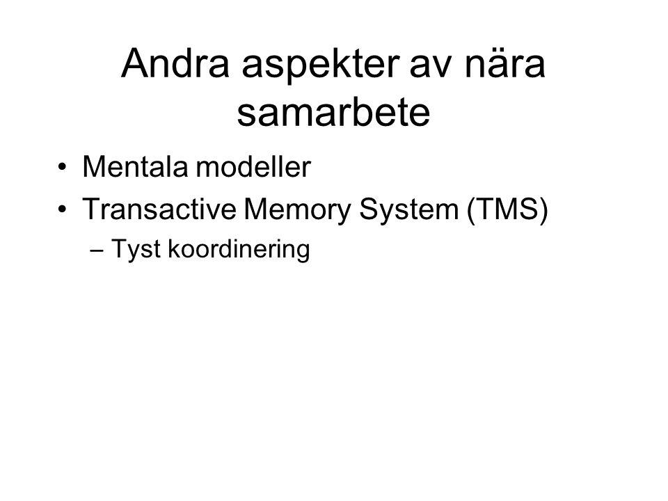 Andra aspekter av nära samarbete Mentala modeller Transactive Memory System (TMS) –Tyst koordinering