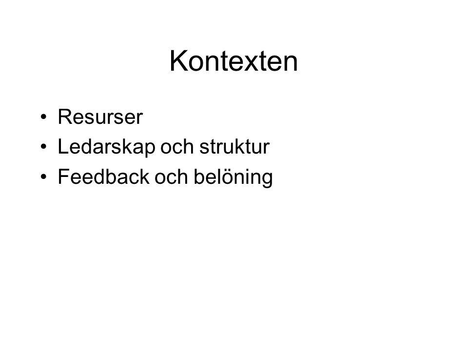 Kontexten Resurser Ledarskap och struktur Feedback och belöning