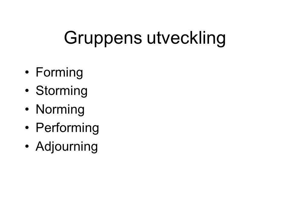 Gruppens utveckling Forming Storming Norming Performing Adjourning